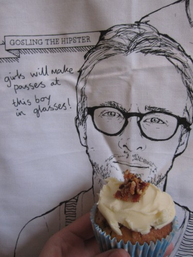 Hipster Ryan Gosling Tea Towel Eating a Cupcake