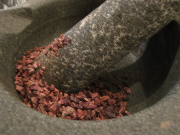 Cocoa Nibs in Pestle and Mortar, Hotel Chocolat, School of Chocolate, London