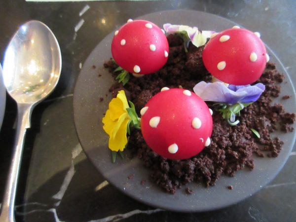 Jaffa Cake, Chocolate Toadstools at Dessert Bar at Cafe Royal, London