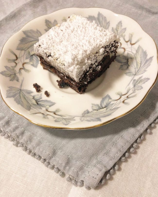 Stollen Brownies on a Vintage Plate and Grey Linen Napkin