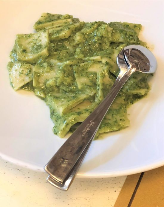 Locanda Tortuga's Testaroli Pasta with Genovese Pesto on Food Tour of Genoa, Italy