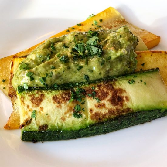 Grilled Courgettes with Salsa Verde at Gambas Restaurant, Bristol, UK