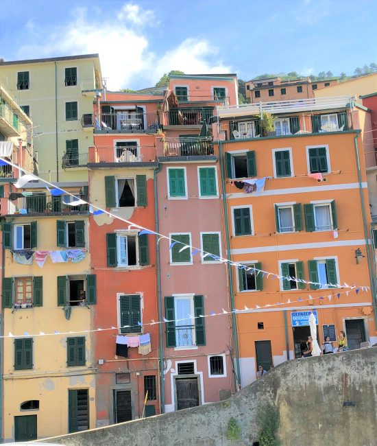 Pink and Orange Building in Riomaggiore, Cinque Terre, Italy