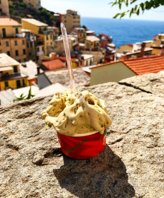 Cup of Pistachio Gelato with Views of Riomaggiore, Cinque Terre, Italy