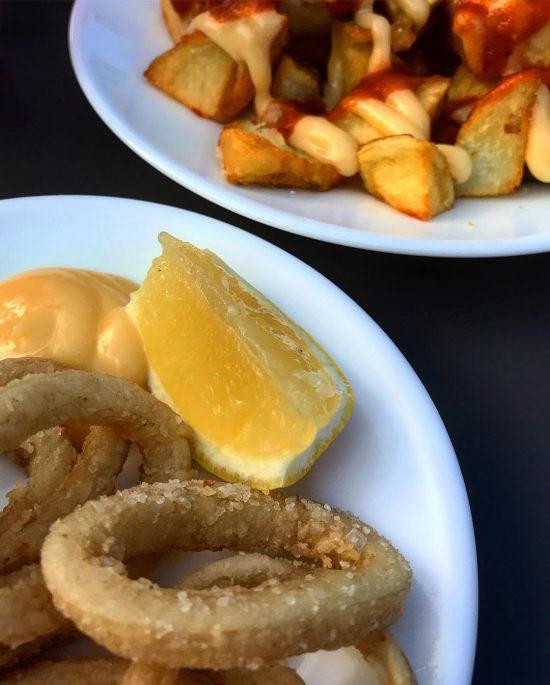 Calamares a la Andaluza and Patas Bravas at Gambas Restaurant, Bristol, UK