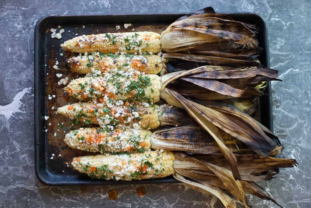 Border Corn with Hot Sauce and Cheese