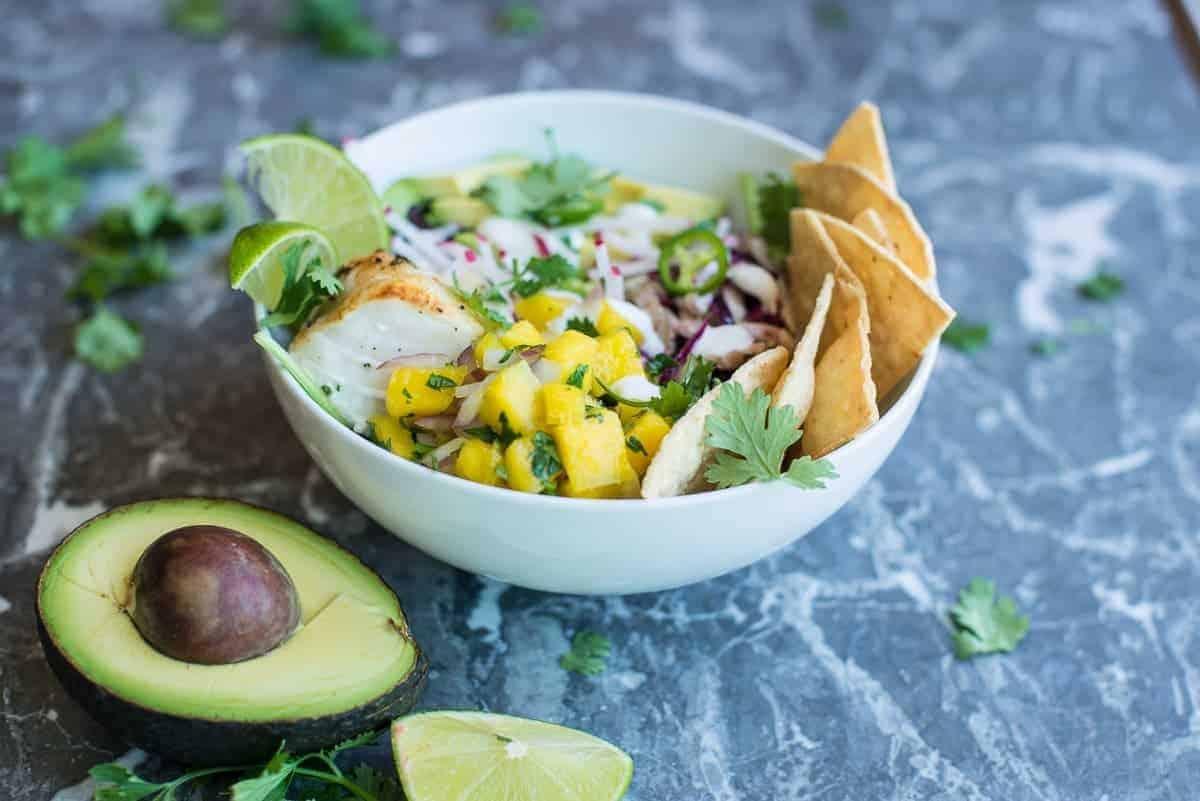 Fish Taco Beast Bowl with Mango Salsa, Creme Fraiche, Avocado and Mexican Slaw