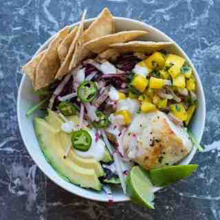 Fish Taco Beast Bowl with Mango Salsa