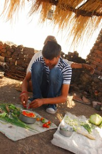 Chef Nikunj Vasoya Chopping Fresh Veges at His Farm. Famous Indian Chef.