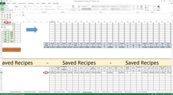 Foodosage Nutrition Calculator - Recipe Analyzer, Paste as Values