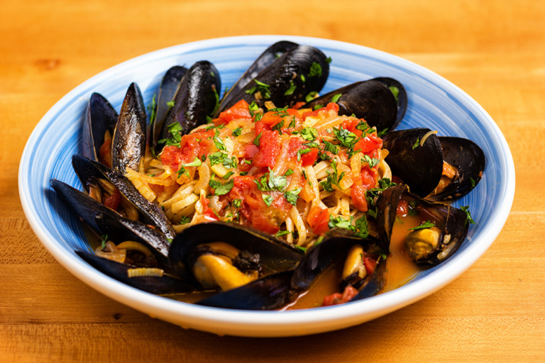 Mussels marinara as prepared by David Jackson on Food Over 50