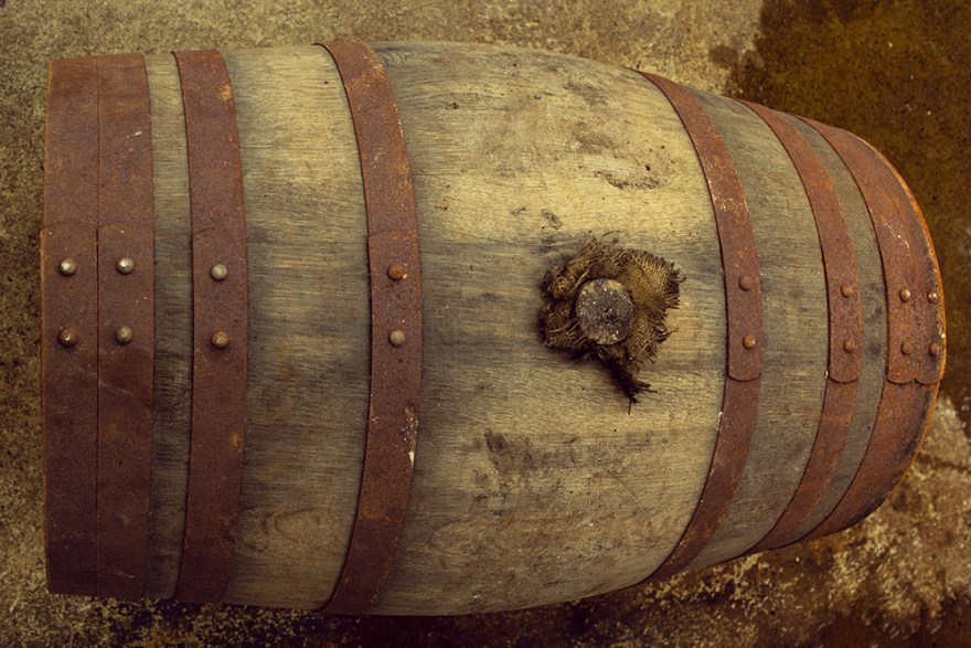 whisky barrel at Red River Distillery in Scotland
