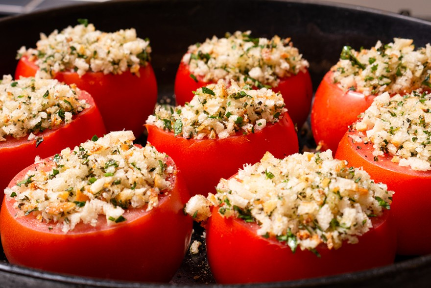 Crumb & Herb Topped Roast Tomatoes