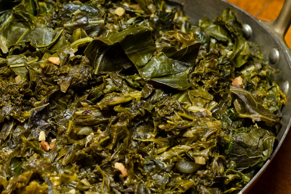 Southern style greens prepared by Food Over 50