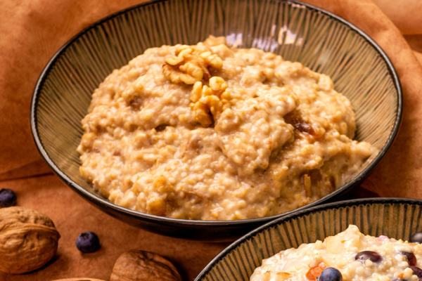 Slow oats with walnuts and dates breakfast recipe as prepared by Food Over 50