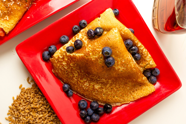 Sweet blueberry crepes as prepared by Food Over 50