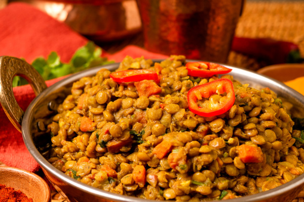 Spicy curried lentils recipe as prepared by Food Over 50