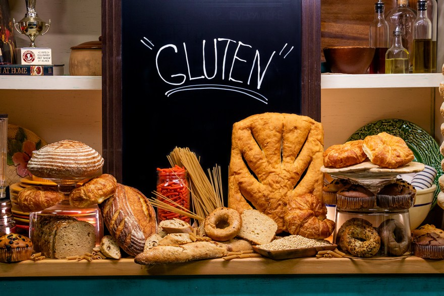 An assortment of gluten products as discussed by Food Over 50