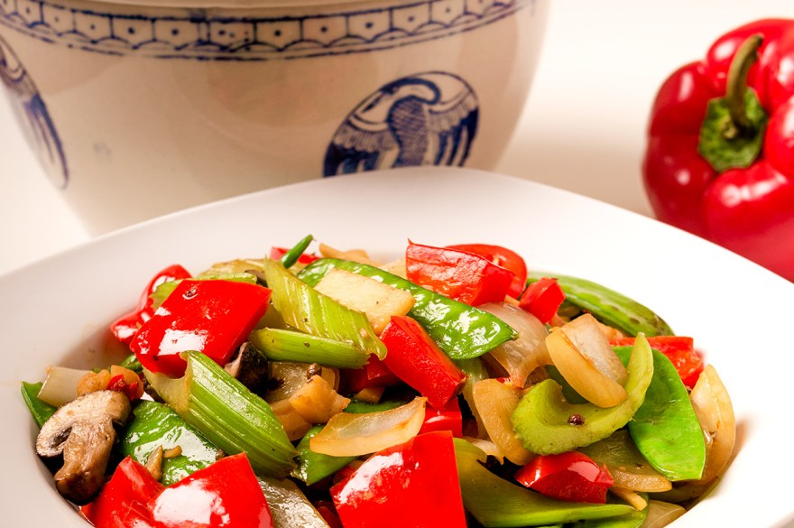 Sichuan stir fry recipe as prepared by Food Over 50