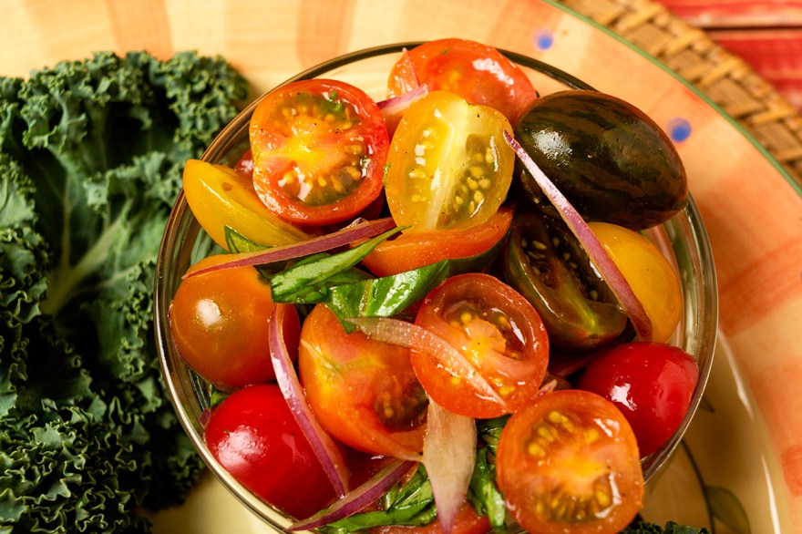 Fresh tomato and basil salad as prepared by Food Over 50