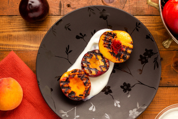Grilled stone fruit dessert as prepared by Food Over 50