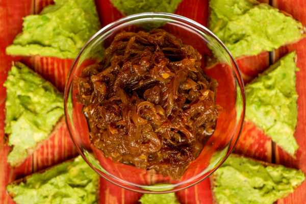 Onion jam condiment as prepared by Food Over 50