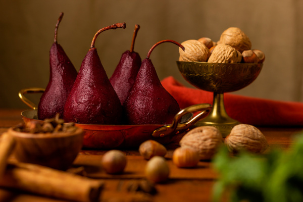 Poached pears dessert as prepared by Food Over 50