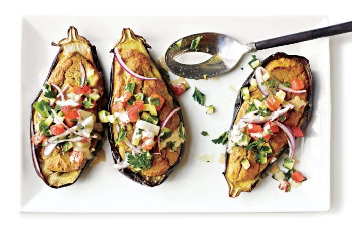 Falafel-Stuffed Eggplant Recipe