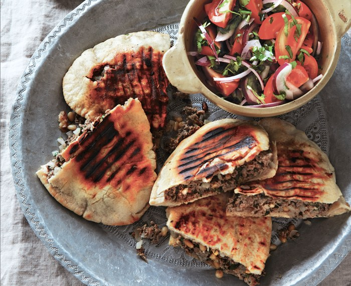 Spiced Lamb In Toasted Pita With Tomato & Red Onion Salad Recipe