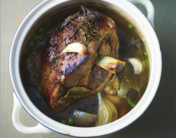 Good wine and slow cooking will make your lamb irresistibly tender — go ahead, grab a leg!