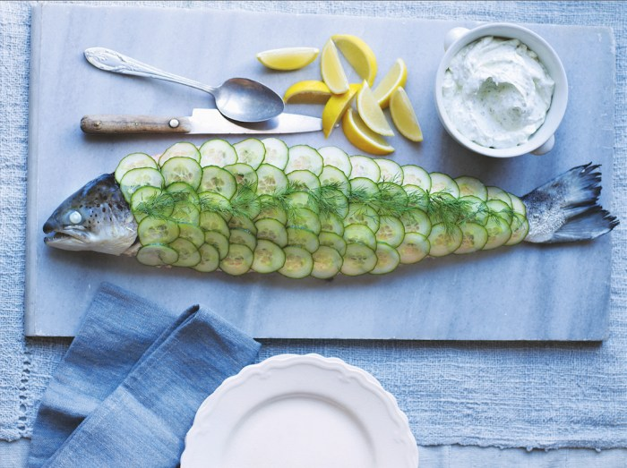 poached whole salmon with pistachio yogurt