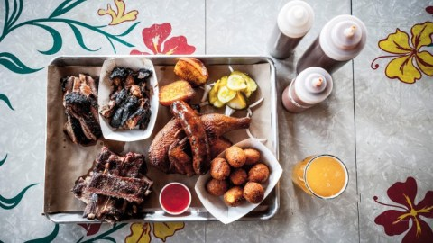 North Carolina pork, Texas brisket and St. Louis ribs are all smoked over local oak at Portland, Maine's Salvage BBQ.