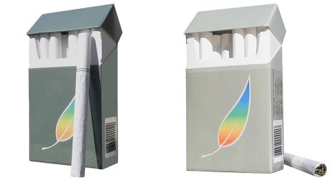 Regular (left) and menthol green tea cigarettes