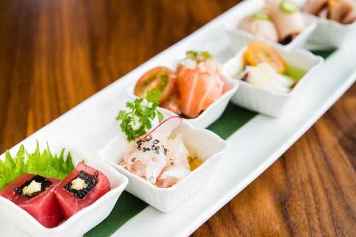 Sushi Roku's signature sashimi sampler features six creative spins on raw fish. (Photo courtesy of Sushi Roku.)
