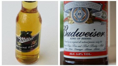 """A proposed mega-merger between Miller and Budweiser's parent companies wouldn't necessarily spell doom for craft brewers. (Miller photo: By Xanor (Own work) [CC0], via Wikimedia Commons; Bud photo: """"Budweiser bottle close-up"""" by Sam - Flickr: Bud-Wis-er.)"""