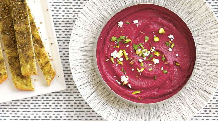 Beet And Labneh Dip With Feta And Pistachios