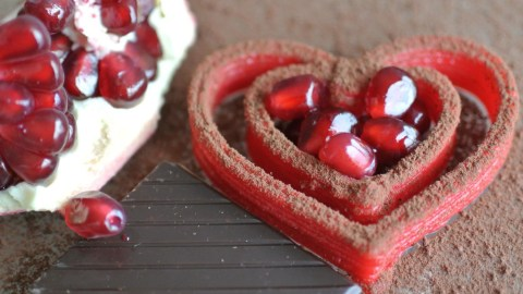 This red chocolate ganache hearts were printed by the Foodini. (Photo: Natural Machines/Facebook.)