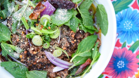 Larb infused with pork blood and lemongrass at the Thai-Kun Food Truck in Austin, Texas.
