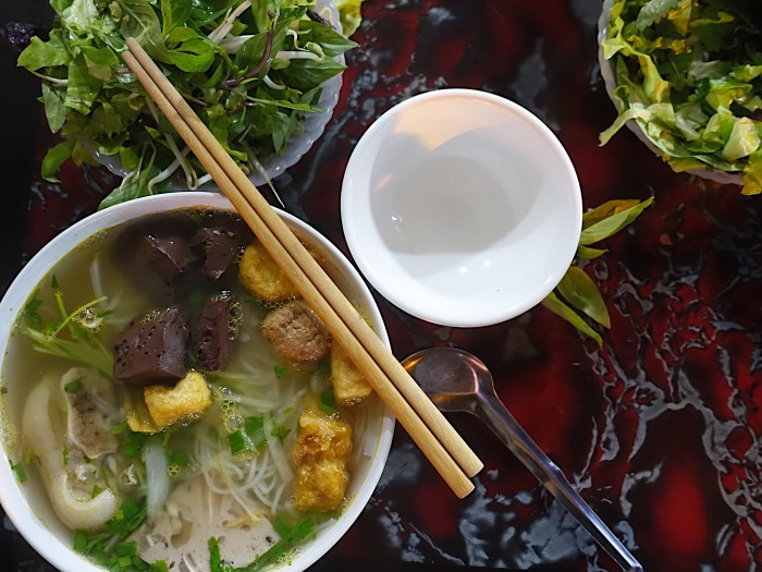 This crab noodle soup is enjoyed for breakfast in Hanoi.