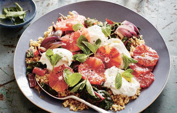 burrata and freekeh salad
