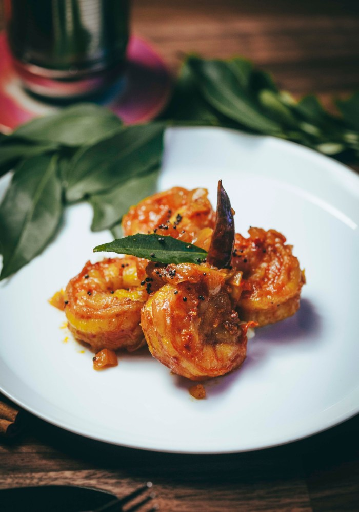 Old Monk serves up spicy prawn balchao inspired by the Western region of India.