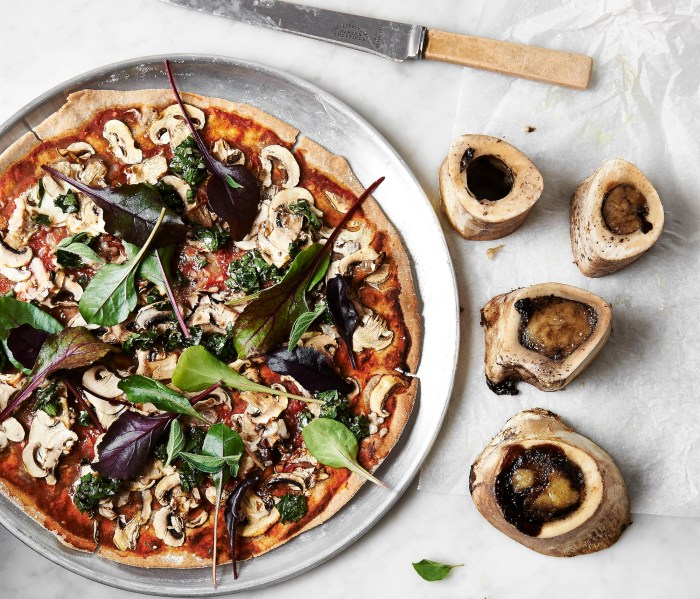 buckwheat pizza with mushrooms