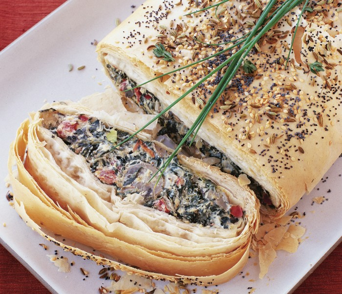 cheese and vegetable strudel