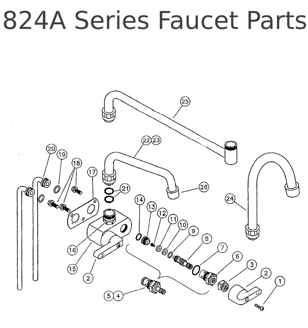 Perlick repair parts for 824A Series Faucet Parts