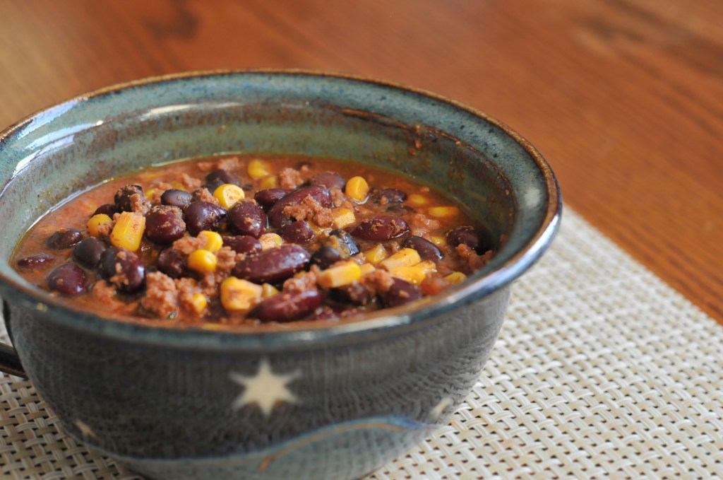 Stupidly Simple Slow Cooker Chili in a pottery bowl
