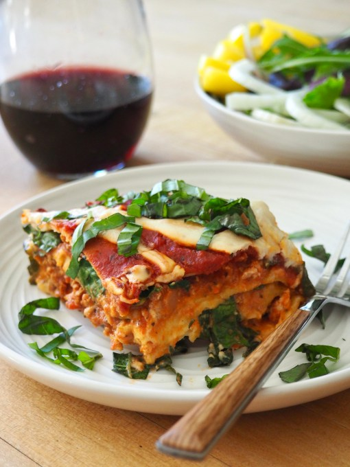 Best ever paleo lasanga with a side salad and red wine