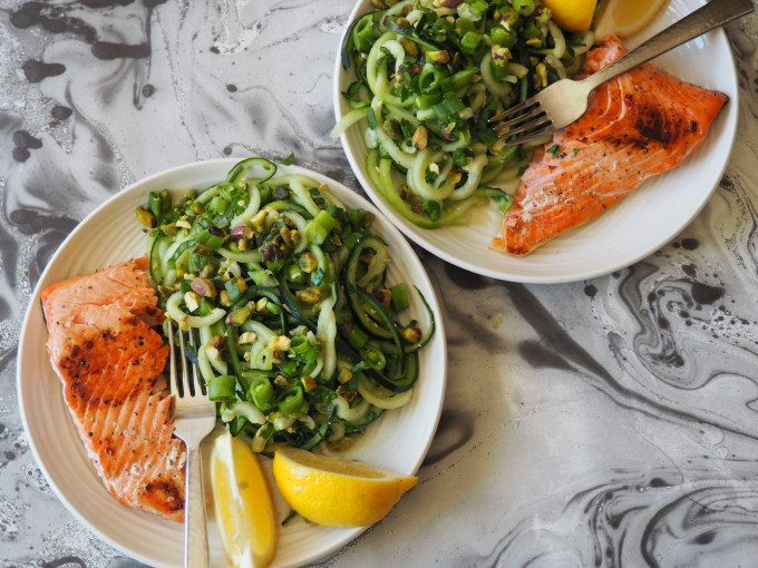 two plates of cucumber noodles and easy lemon wild salmon