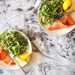 Cucumber Noodle Salad & Easy Lemon Wild Salmon