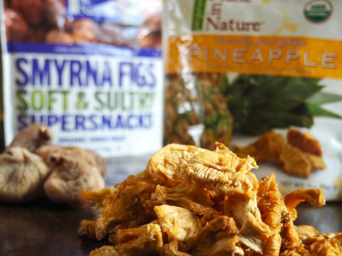 piles of Made in Nature dried smyrna figs and dried pineapple