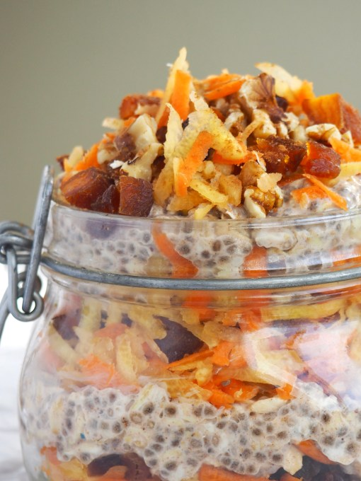 quick and healthy breakfast recipes layered shredded carrots with dried apricots on vegan overnight oats